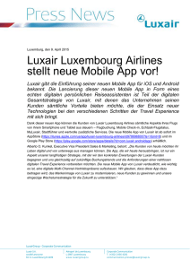 Template of a Luxair Luxembourg Airlines Press News