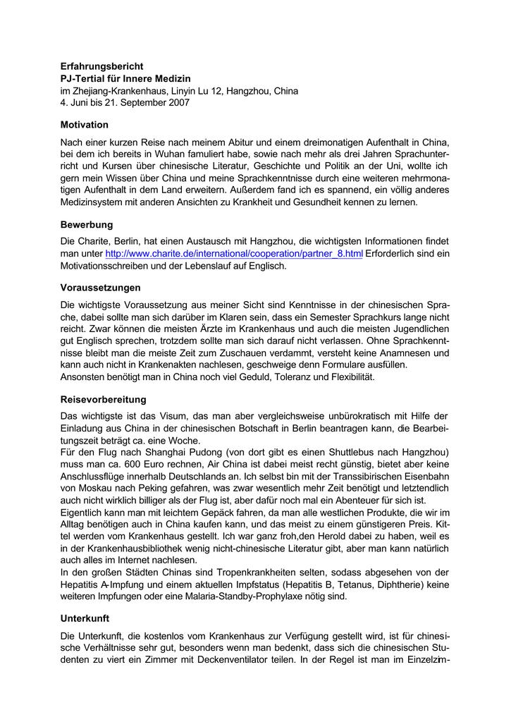 Erfahrungsbericht PJ Tertial für Innere Medizin im Zhejiang