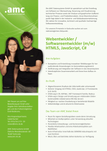 Webentwickler / Softwareentwickler (m/w) HTML5, JavaScript, C#