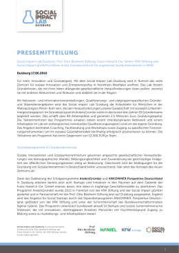 pressemitteilung - SOCIAL IMPACT LAB Duisburg