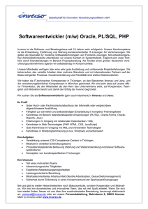 Softwareentwickler (m/w) Oracle, PL/SQL, PHP
