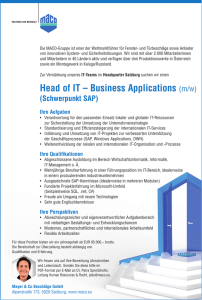 Head of IT – Business Applications (m/w)