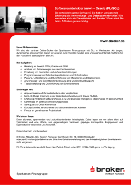 www.sbroker.de Softwareentwickler (m/w) – Oracle (PL/SQL)