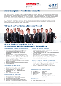 Oracle Senior-Consultant (m/w) Schwerpunkt - IT