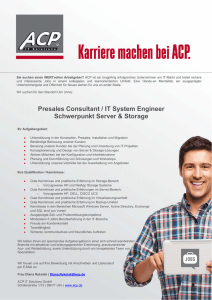 Presales Consultant / IT System Engineer Schwerpunkt Server