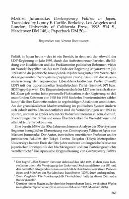 MASUMI Junnosuke: Contemporary Politics in Japan.