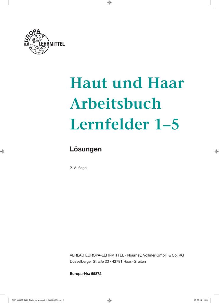 Haut und Haar Arbeitsbuch Lernfelder 1–5 - Europa