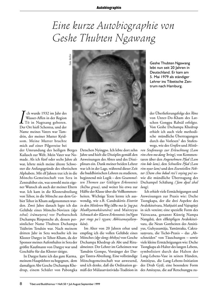 Eine Kurze Autobiographie Von Geshe Thubten Ngawang