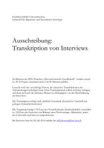 Ausschreibung Interviewtranskription