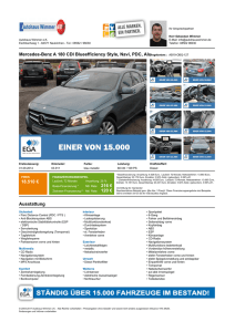 Mercedes-Benz A 180 CDI Blueefficiency Style, Navi, PDC