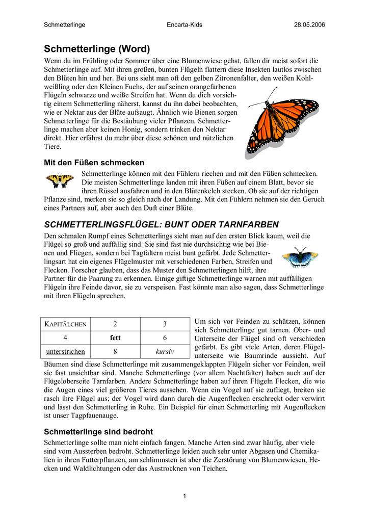 Schmetterlinge (Word)