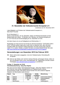 31. Newsletter vom 30. November 2015