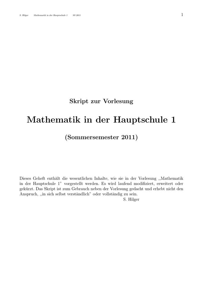 Mathematik in der Hauptschule 1