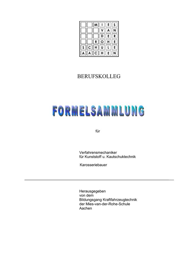 Formelsammlung Teil 1