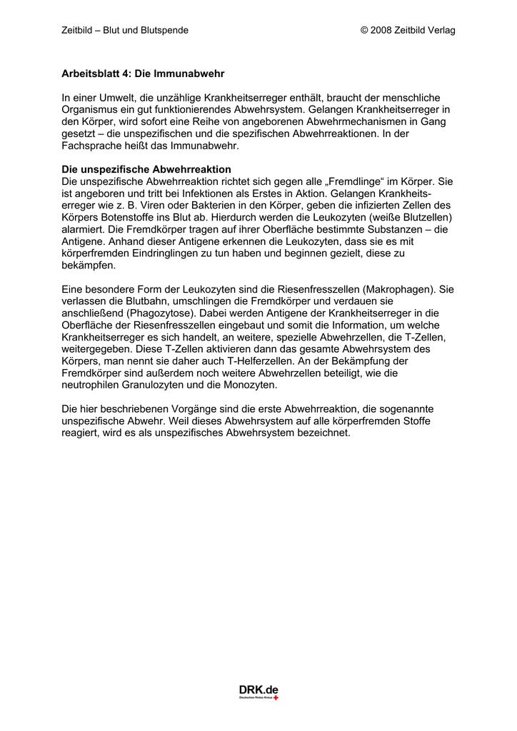 Arbeitsblatt 4: Die Immunabwehr In einer Umwelt, die unzählige