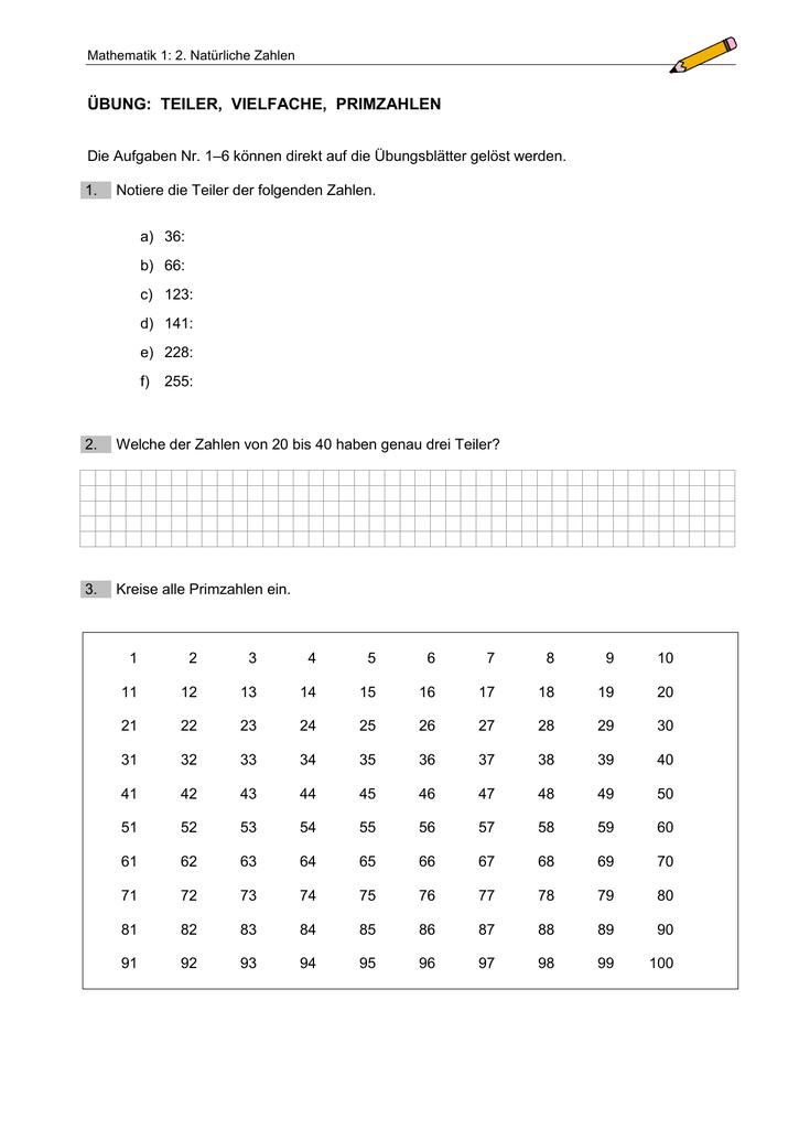 Übung: Teiler, Vielfache, Primzahlen