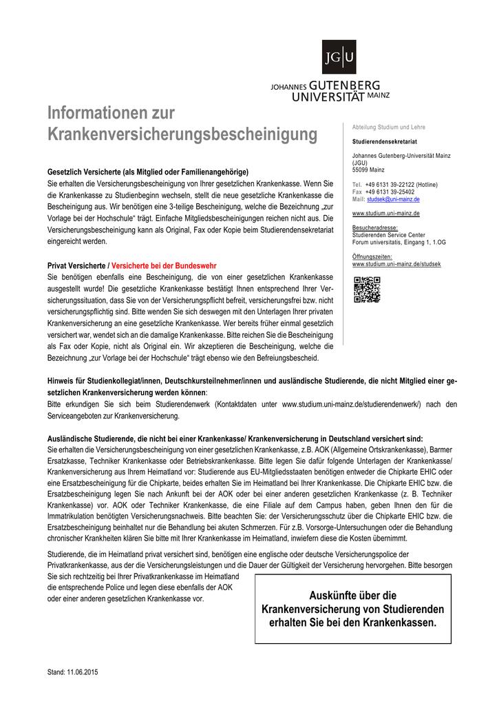 Versicherungsbescheinigung Zur Vorlage Bei Der Hochschule Aok