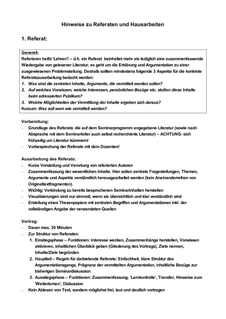 Referaten Und Seminararbeiten Uni