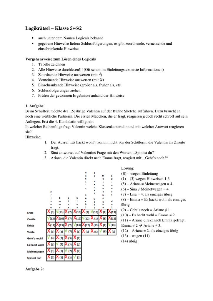 Logikrätsel – Klasse 5+6/2