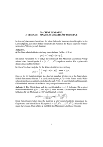 MACHINE LEARNING, 3. SEMINAR – MAXIMUM LIKELIHOOD