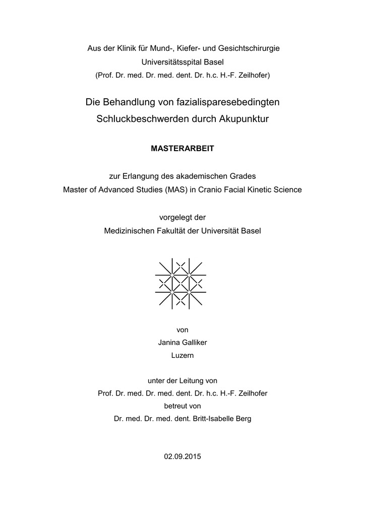 MasArbeit 06.10.2015 - in Cranio Facial Kinetic Science