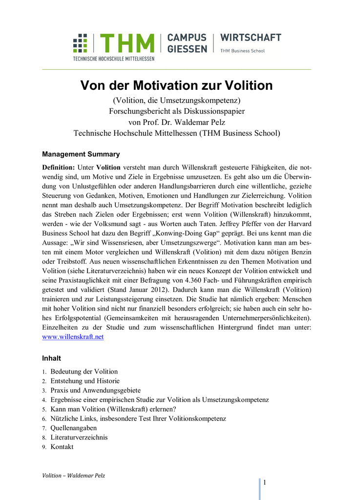Umsetzungskompetenz Von Der Motivation Zur Volition