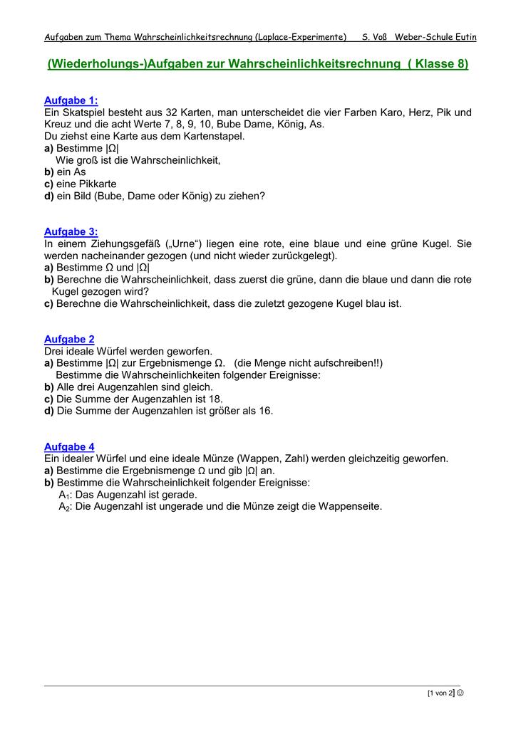 Wiederholungs)Aufgaben
