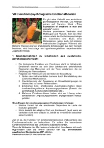 VII Evolutionspsychologische Emotionstheorien