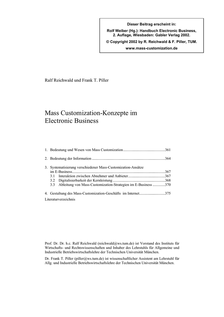Mass Customization-Konzepte im Electronic Business