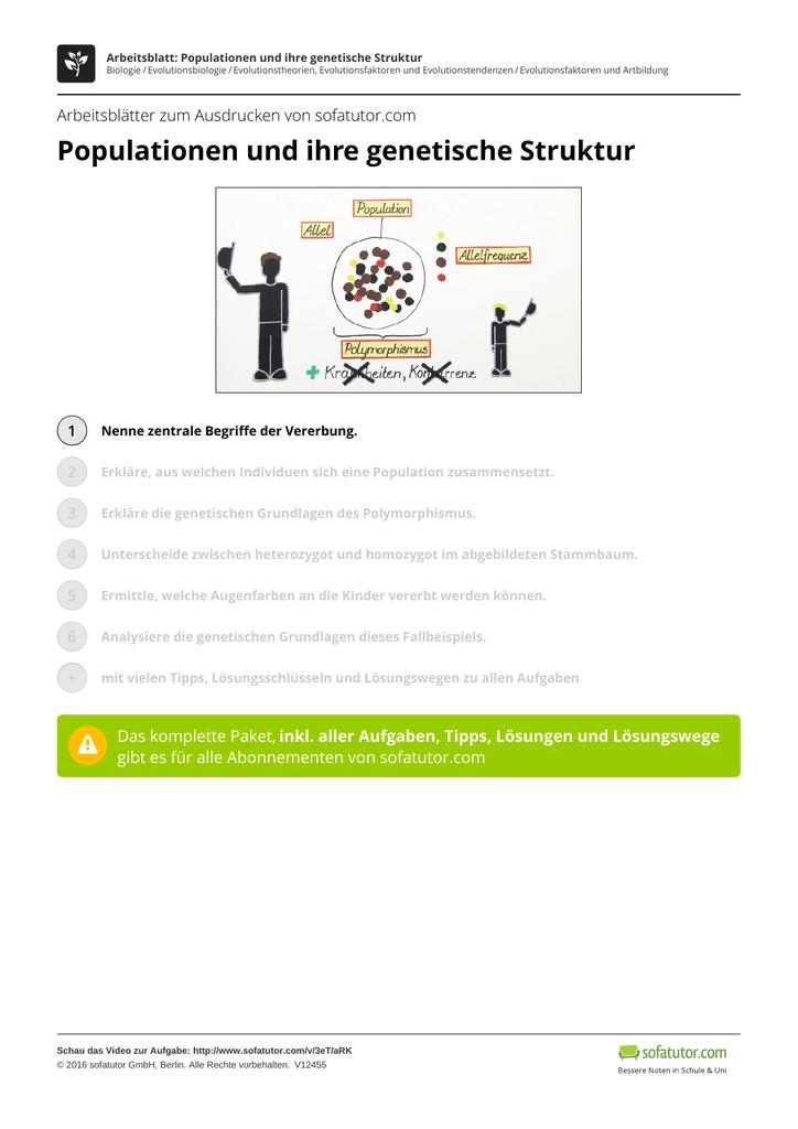 Schön Genetischer Stammbaum Arbeitsblatt Zeitgenössisch ...