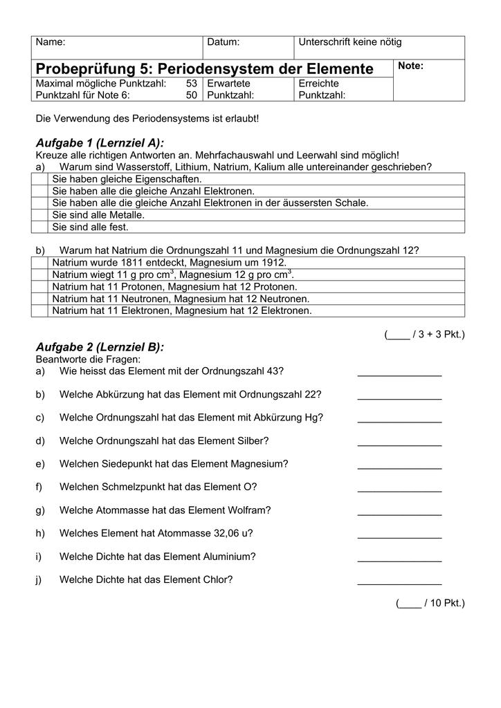 Probeprüfung 5 Periodensystem Der Elemente