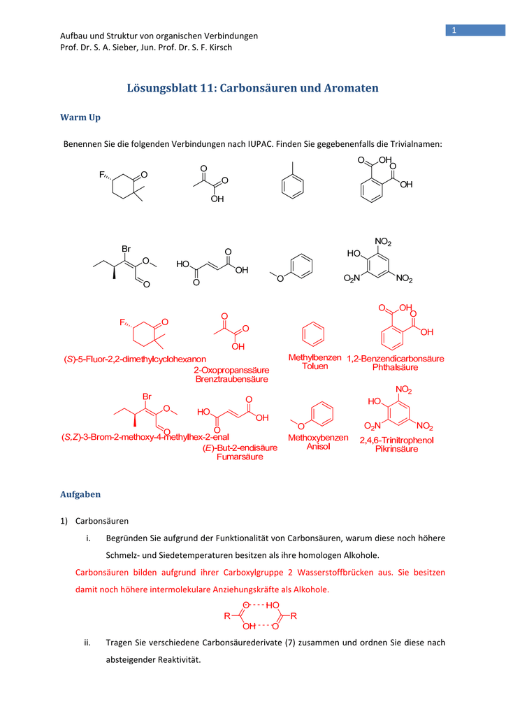 Lösungsblatt 11 Carbonsäuren Und Aromaten
