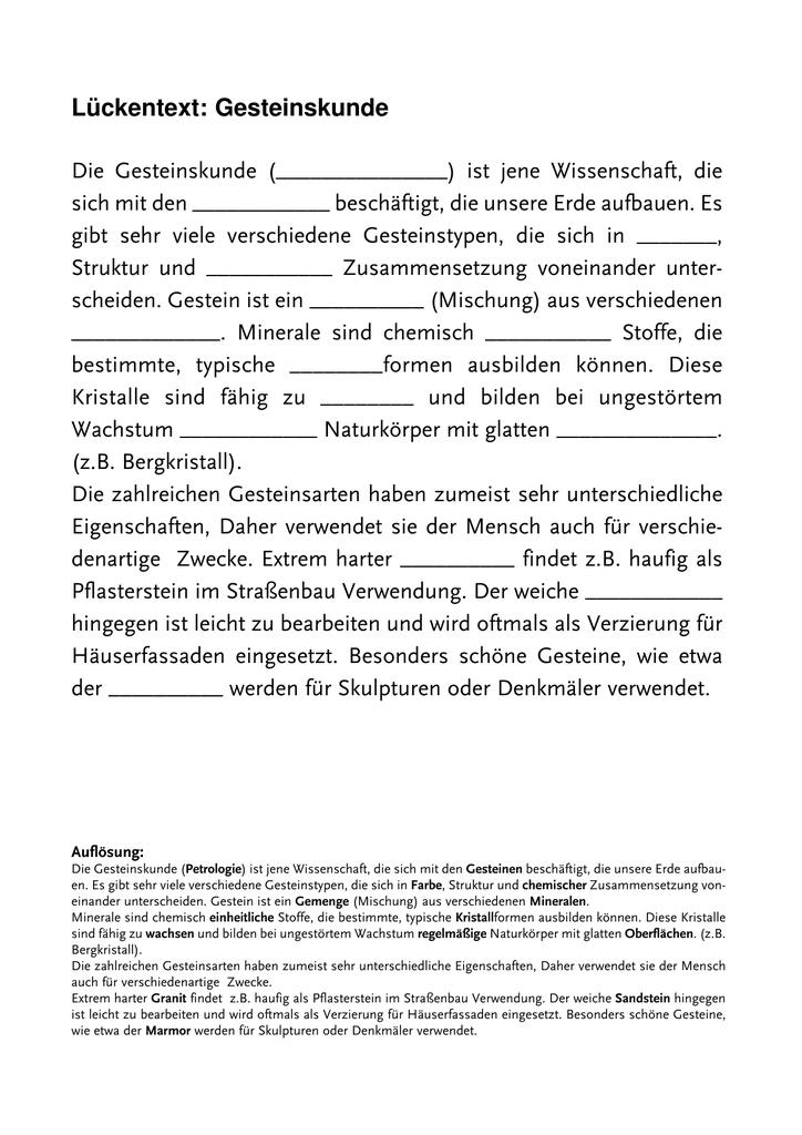 Lückentext-aufnahmetest