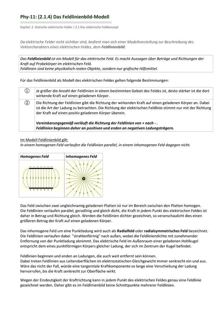 Das Feldlinienbild-Modell