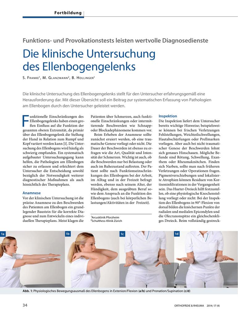 Die klinische Untersuchung des Ellenbogengelenks | SpringerLink