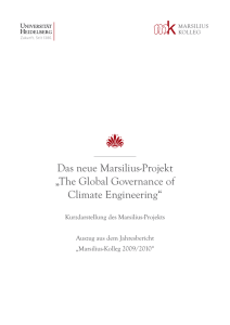 The Global Governance of Climate Engineering - Marsilius