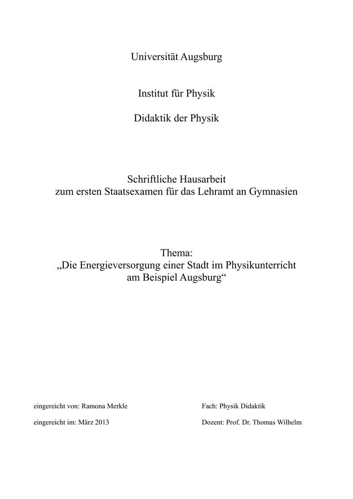 Universität Augsburg Institut Für Physik Didaktik Der Physik