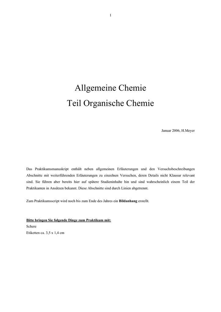 Allgemeine Chemie Teil Organische Chemie