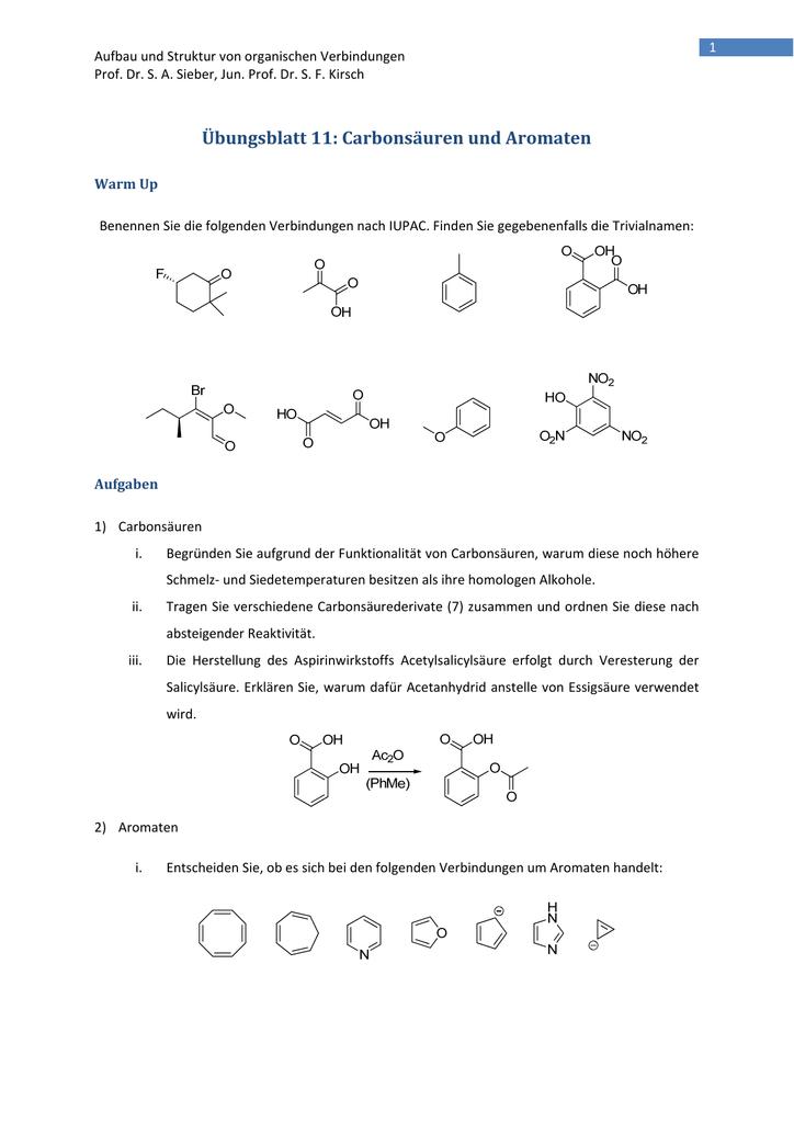 übungsblatt 11 Carbonsäuren Und Aromaten