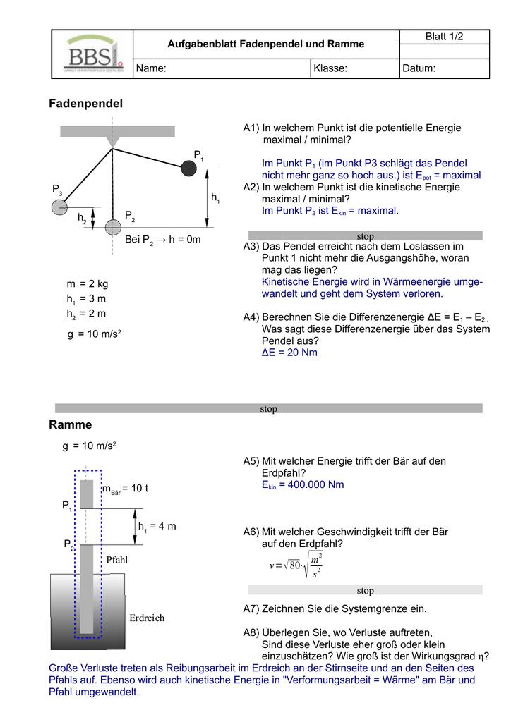 Großartig Kinetische Und Potentielle Energie Berechnungen ...