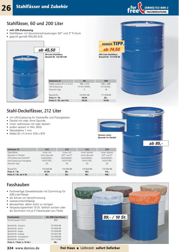 Stahlfässer, 60 und 200 Liter und Zubehör
