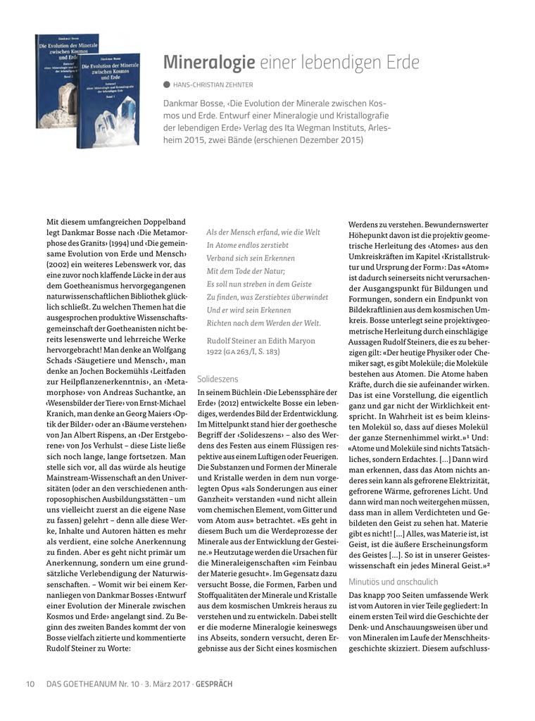 Mineralogie einer lebendigen Erde – Das Goetheanum 10/2017