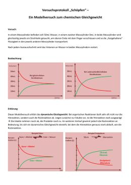 ein modellversuch zum chemischen gleichgewicht - Massenwirkungsgesetz Beispiel