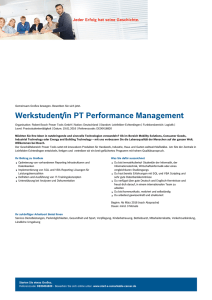Werkstudent/in PT Performance Management - Bosch