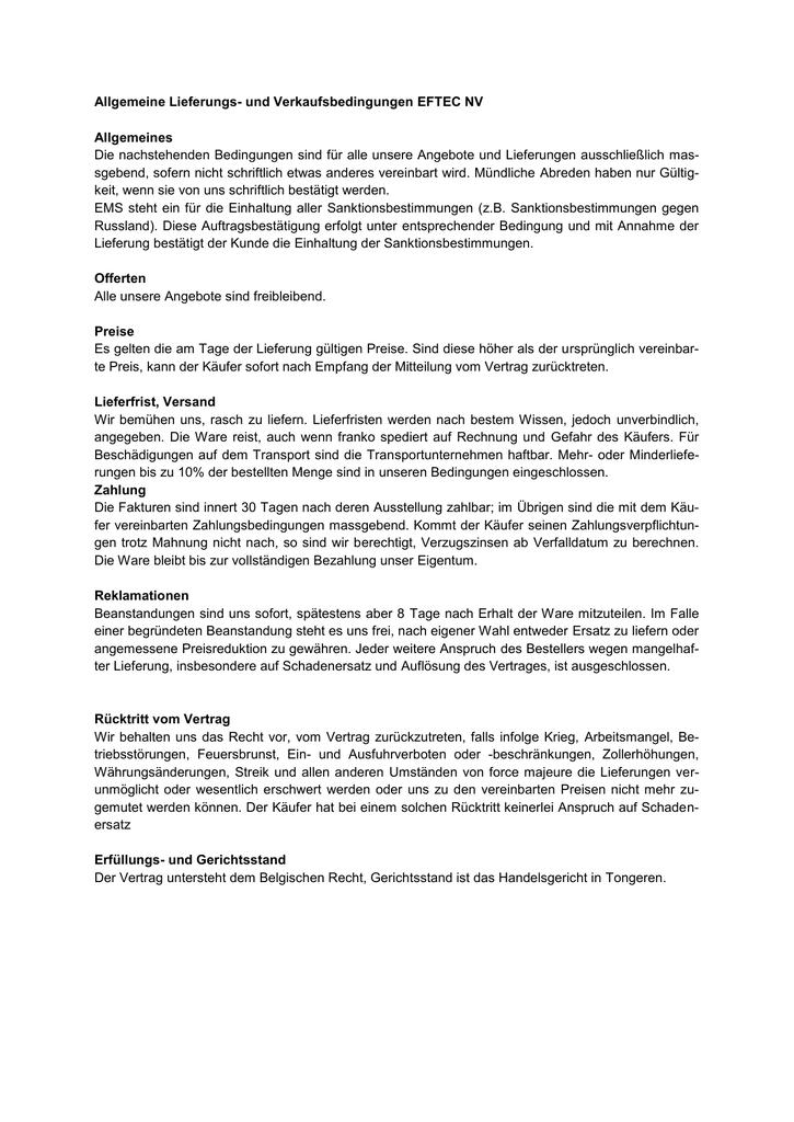 Allgemeine Lieferungs Und Verkaufsbedingungen