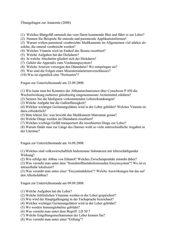 Anatomie Fragenkomplex - MTA