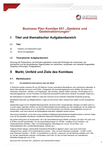 "Business Plan Komitee 051 ""Gesteine und"