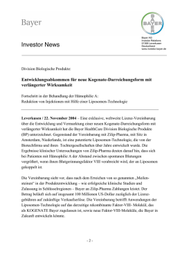 Investor News - Bayer Investor Relations