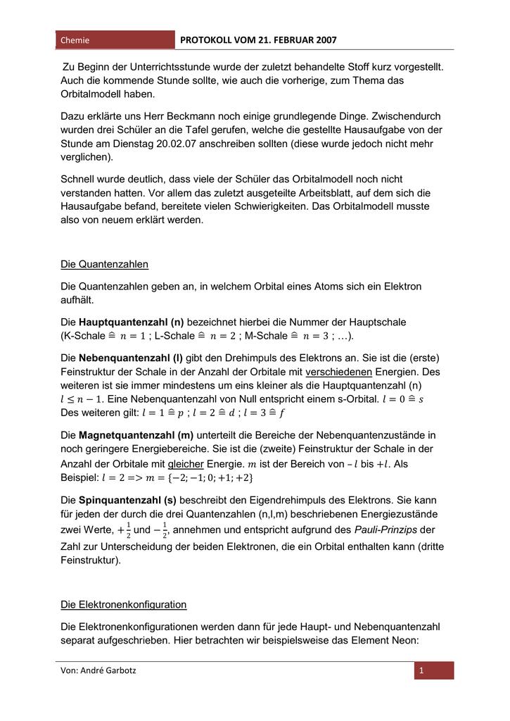 Erklärungen zum Orbitalmodell ANDRÉ