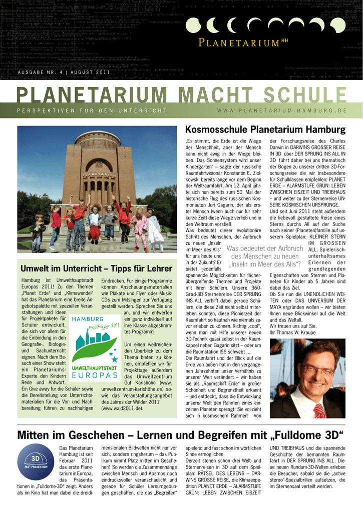 Zur Informationsbroschure Fur Lehrer Planetarium Macht Schule
